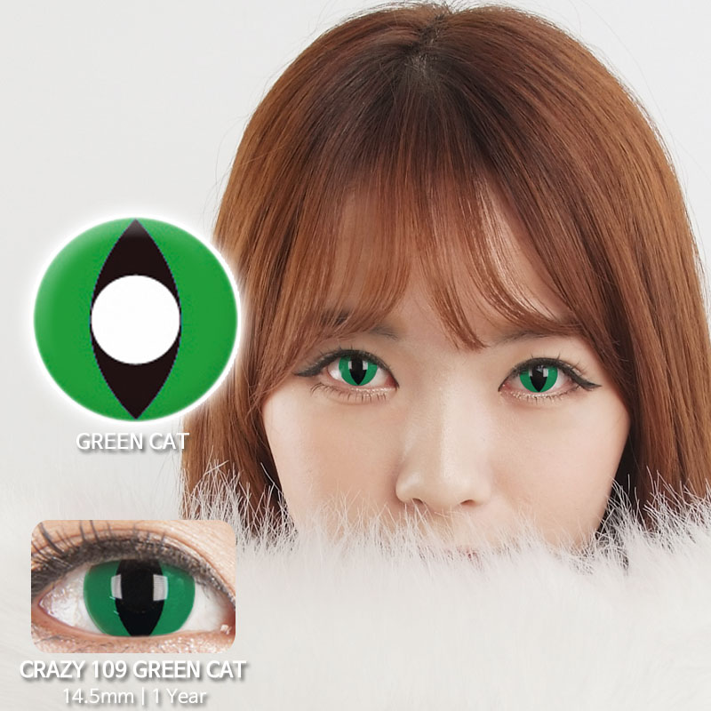Green cat 109 colored contacts